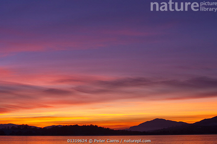 Sunset over Loch Insh, Scotland, UK, December 2009.  ,  BEAUTY IN NATURE,CLOUDS,COLOURFUL,EUROPE,HIGHLANDS,LANDSCAPES,MOUNTAINS,SCOTLAND,SKY,SUNSET,UK,WATER,WINTER,Weather,United Kingdom,core collection xtwox  ,  Peter Cairns