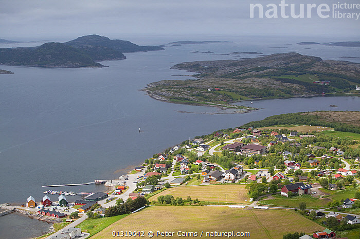 Aerial view over village of Lausvnes (location for sea eagle safaris). Flatanger, Norway, July 2010.  ,  AERIALS,EUROPE,ISLANDS,LANDSCAPES,NORWAY,SCANDINAVIA,SUMMER,TOURISM,WATER  ,  Peter Cairns