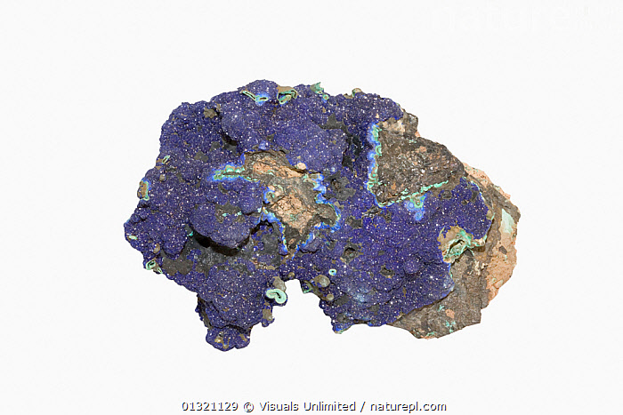 Azurite  ,  AZURITE,BLUE,DIRECTLY,GEOLOGY,MINERAL,MINERALS,OBJECT,ROCKS,SHOT,SINGLE,STUDIO,WHITE  ,  Visuals Unlimited