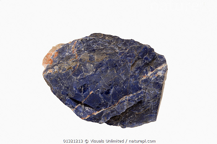 Sodalite, Ontario  ,  BLUE,GEOLOGY,MINERAL,MINERALS,OBJECT,ROCKS,SHOT,SINGLE,SMOOTH,SODALITE,STUDIO,WHITE  ,  Visuals Unlimited