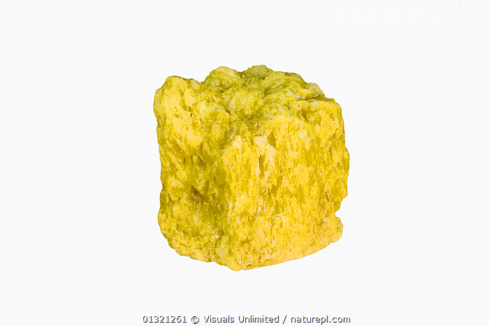 Sulfur, Refined  ,  ELEMENT,GEOLOGY,MINERAL,MINERALS,NATIVE,OBJECT,ROCKS,SHOT,SINGLE,STUDIO,SULFUR,WHITE,YELLOW  ,  Visuals Unlimited