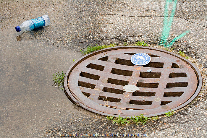 Drain hole cover  ,  BLUE,BOTTLE,BROWN,COVER,DRAIN,GRATE,HOLES,LITTER,OBJECTS,OUTDOORS,PLASTIC,ROAD,RUST,SCIENTIFICA,TWO,WHITE  ,  Visuals Unlimited