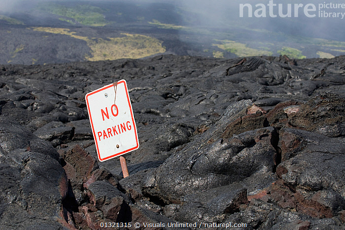A road consumed by lava on Mount Kilauea in Hawaii, USA, October 2006  ,  BROWN,CONSUMED,DAMAGE,DESTRUCTION,HAWAII,KILAUEA,LANDSCAPES,LAVA,MOUNT,OBJECT,OUTDOORS,PARKING,ROAD,SIGN,SINGLE,USA,VOLCANO,WHITE,North America  ,  Visuals Unlimited