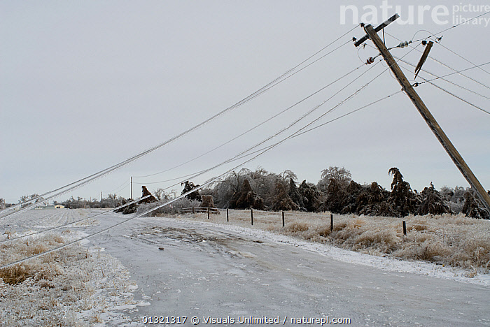 Damaged electrical and communication lines hang over an ice-covered road during freezing rain storm in Kearney, Nebraska, USA, January 2007  ,  ADVERSITY,COLD,DAMAGE,DANGEROUS,DESTRUCTION,DOWNED,DREARY,FALLING,FREEZING,ICE,LANDSCAPES,LINES,OUTDOORS,POWER,RAIN,ROAD,SLIPPERY,STORM,UNPASSABLE,USA,WEATHER,North America  ,  Visuals Unlimited