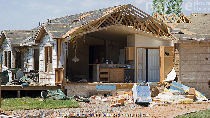 A house severely damaged by an EF 3 tornado in Windsor, Colorado, USA, May 2008  ,  ADVERSITY,CATASTROPHE,DAMAGE,DESTRUCTION,DISASTERS,EMERGENCIES,EXTERIOR,GRIFT,HOUSE,JON,LANDSCAPES,MISFORTUNE,OUTDOORS,SURVIVAL,TORNADO,USA,VAN,WEATHER,North America  ,  Visuals Unlimited
