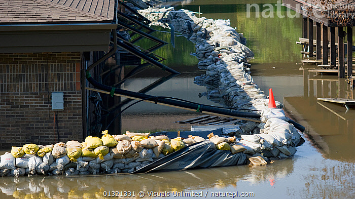 A failed sandbag levee surrounds a building in Coralville, Iowa during the historic 2008 flood on the Iowa River, USA, June 2008  ,  ADVERSITY,BUILDING,DISASTERS,EMERGENCIES,EXTERIOR,FLOODS,LANDSCAPES,MISFORTUNE,OUTDOORS,RIVER,SANDBAGS,USA,WEATHER,North America  ,  Visuals Unlimited