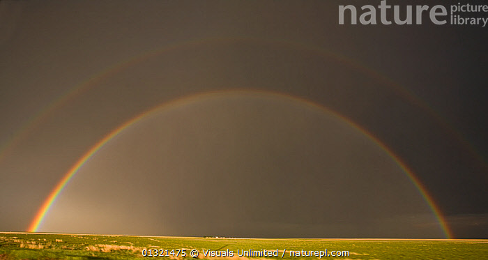 Rainbow in the Texas Panhandle, USA. Note the faint second rainbow above. January 2009  ,  ARCH,DARK,DOUBLE,GRASSLAND,GRAY,LANDSCAPES,OUTDOORS,PRAIRIE,RAIN,RAINBOW,SKY,SPECTRAL,STORM,TEXAS,USA,WEATHER,North America  ,  Visuals Unlimited