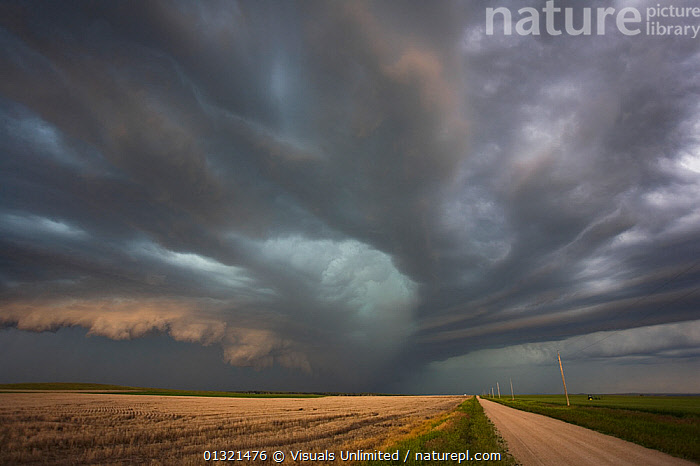 An approaching South Dakota supercell, January 2009  ,  BLUE,CLOUDS,DANGEROUS,GRAY,HANGING,LANDSCAPES,LOW,OUTDOORS,POINT,ROAD,STORM,SUPERCELL,VANISHING,WEATHER,WHITE  ,  Visuals Unlimited