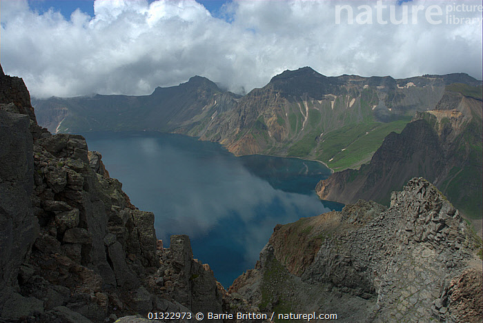 """Heaven Lake on border between China and North Korea, Mount Changbai National Park, North-east China. Picture taken during filming for BBC """"Wild China"""" TV Series, July 2006.  ,  ASIA,CHINA,LAKES,LANDSCAPES,MOUNTAINS,NP,Tianchi,National Park  ,  Barrie Britton"""