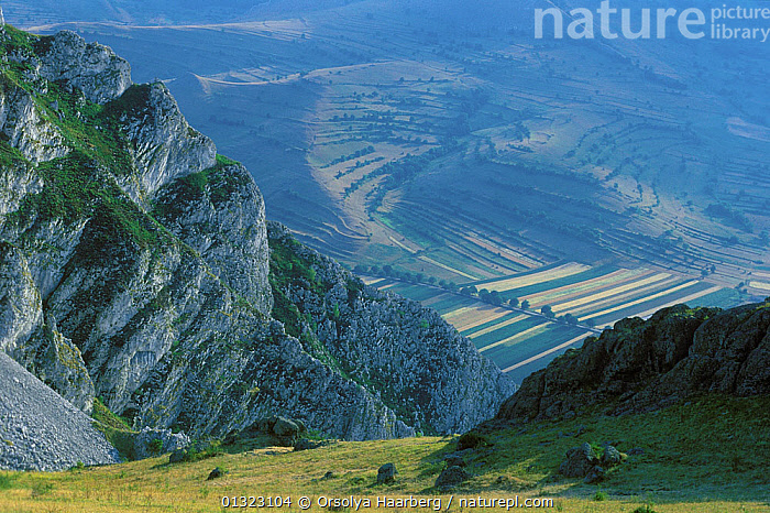 """View from the top of the """"Szekelyko"""", Rimetea, Alba, Romania.  ,  AGRICULTURE,EASTERN EUROPE,EUROPE,FIELDS,LANDSCAPES,MOUNTAINS,ROCKS  ,  Orsolya Haarberg"""