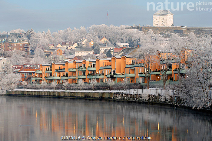 Winter landscape, the Nidelva River with the Kristiansen fortress in the background, Trondheim, Sor-Trondelag, Norway, January 2006  ,  BUILDINGS,EUROPE,FROST,LANDSCAPES,NORWAY,RIVERS,SCANDINAVIA,TOWNS,WATER,WHITE,WINTER,Weather  ,  Orsolya Haarberg