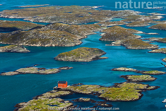 Aerial view of Lovund Archipelago with solitary house, Strandflat, Helgeland, Nordland, Norway, June 2006  ,  AERIALS,ARCTIC,BLUE,BUILDINGS,COASTS,EUROPE,ISLANDS,LANDSCAPES,NORWAY,SCANDINAVIA,core collection xtwox  ,  Orsolya Haarberg