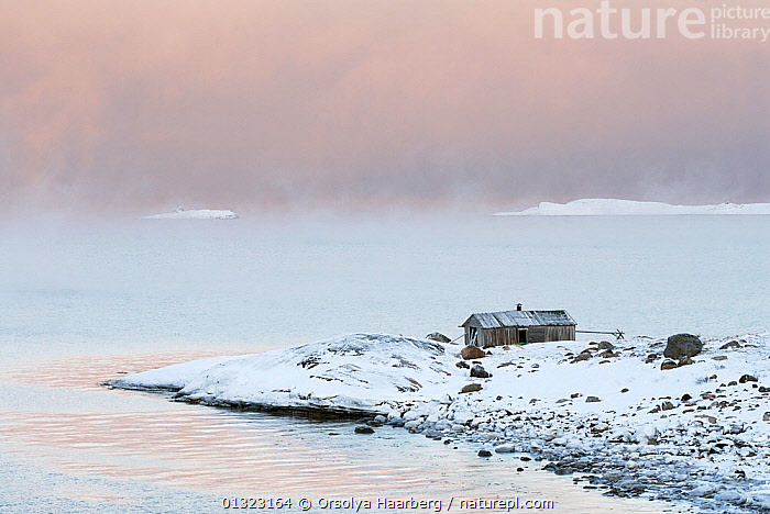 Arctic sea mist over the Varangerfjord, wooden fishing hut on the promontory, Byluft, Nesseby, Finnmark, Norway.  ,  ARCTIC,BUILDINGS,COASTS,EUROPE,LANDSCAPES,MIST,NORWAY,SCANDINAVIA,WINTER,WOODEN,WEATHER  ,  Orsolya Haarberg