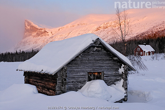 Traditional wooden farm hut beside Lake Laitaure, with Skierfe mountain in the background, Aktse, Laponia, Sweden, sunrise, winter  ,  ARCTIC,BUILDINGS,EUROPE,LANDSCAPES,LAPLAND,LAPONIA,SCANDINAVIA,SUNRISE,SWEDEN,WINTER,WOODEN  ,  Orsolya Haarberg