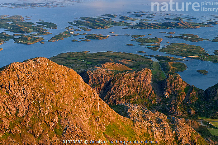 The view of Donna and Heroy from the top of Donnamannen, Helgeland, Nordland, Norway, July 2009  ,  ARCTIC,COASTS,EUROPE,HIGH ANGLE SHOT,LANDSCAPES,NORWAY,SCANDINAVIA,SUMMER  ,  Orsolya Haarberg