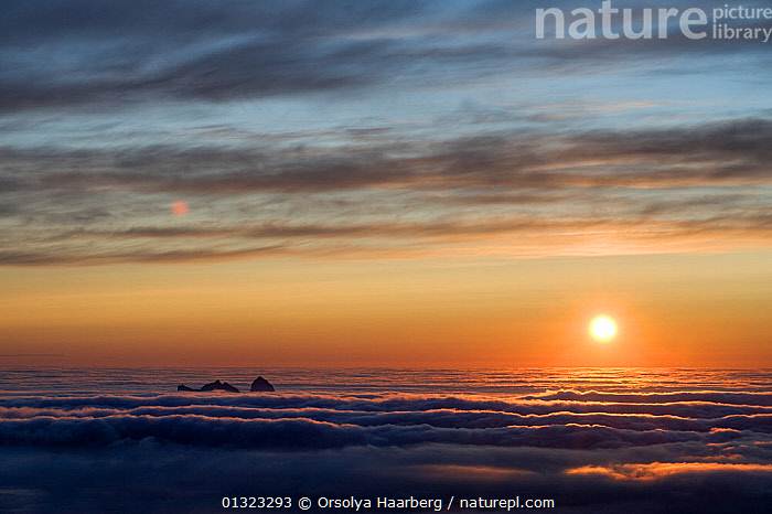 The view of Sanna (Taena) in sea fog, from the top of the Lundeura (Lovund, Luroy) in the Midnight Sun, Helgeland, Nordland, Norway, July 2009  ,  COASTS,EUROPE,LANDSCAPES,NIGHT,NORWAY,SCANDINAVIA,SUN  ,  Orsolya Haarberg
