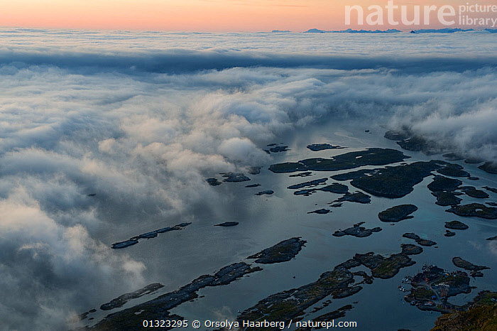 The view of the Lovund archipelago in sea fog from the top of the Lundeura, Luroy, Helgeland, Nordland, Norway, July 2009  ,  CLOUDS,COASTS,EUROPE,FOG,LANDSCAPES,NORWAY,SCANDINAVIA,SUNRISE,Weather  ,  Orsolya Haarberg