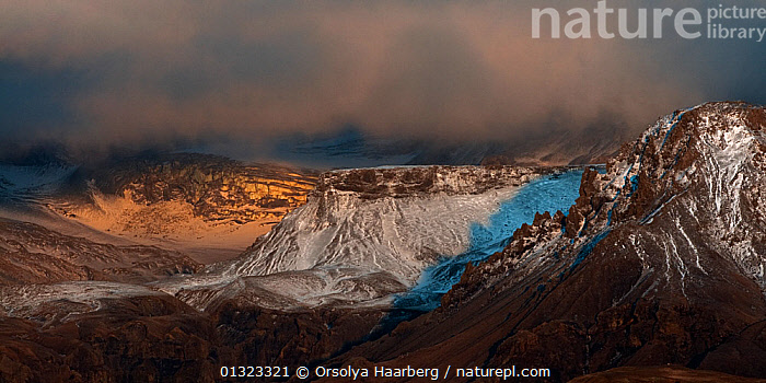 Mountain landscape partly covered by snow, Porsmork, Iceland, April 2010  ,  EUROPE,ICELAND,LANDSCAPES,MOUNTAINS,SNOW,SPRING  ,  Orsolya Haarberg