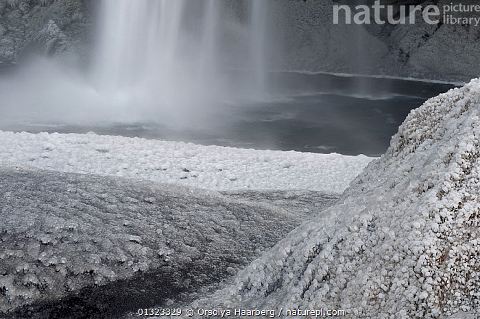 Ice-covered surfaces around the Seljalandsfoss waterfall after a cold night, Iceland, April 2010  ,  EUROPE,FROST,ICE,ICELAND,SPRAY,WATER,WATERFALLS,Weather  ,  Orsolya Haarberg