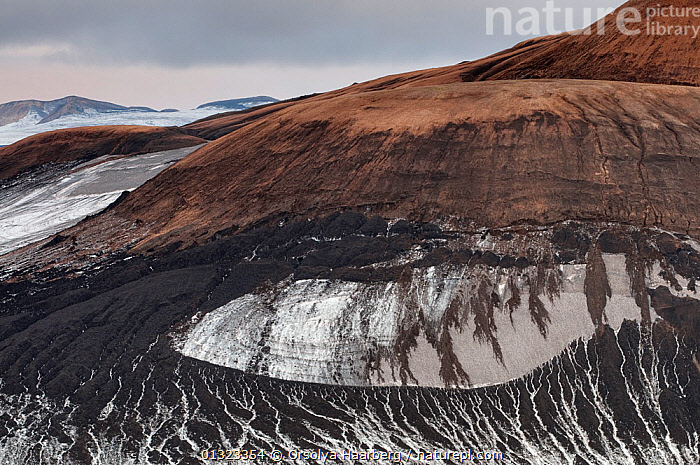 Patterns of sand, ice and volcanic ash on the slope of the Reykjafjoll mountain, Fjallabak Nature Reserve, Iceland, August 2010  ,  EUROPE,ICE,ICELAND,LANDSCAPES,RESERVE,SNOW  ,  Orsolya Haarberg