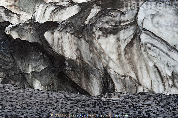 Ice formations on the west side of mountain Hrafntinnusker, Fjallabak Nature Reserve, Iceland, August 2010  ,  ABSTRACT,EUROPE,ICE,ICELAND,RESERVE,SNOW  ,  Orsolya Haarberg