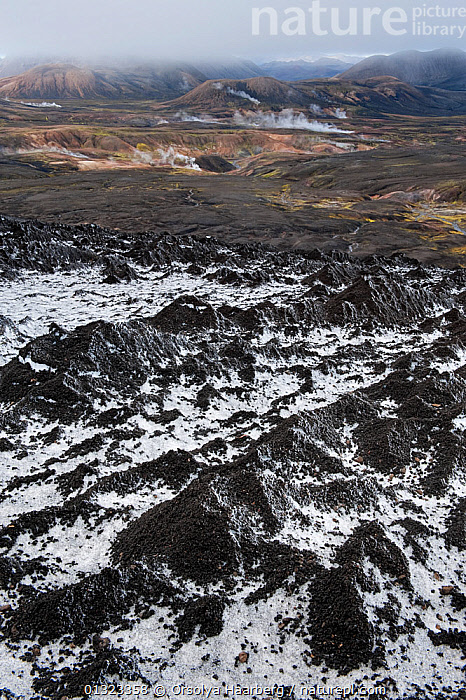View over the hot spring area west of Hrafntinnusker, frosted sand moraines on ice can be seen in the foreground, Fjallabak Nature Reserve, Iceland, August 2010  ,  EUROPE,FROST,ICE,ICELAND,LANDSCAPES,RESERVE,SNOW,STEAM,VENT,VERTICAL,Weather  ,  Orsolya Haarberg