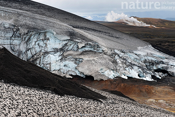 Ice formations on the west side of mountain Hrafntinnusker, Fjallabak Nature Reserve, Iceland, August 2010  ,  EUROPE,ICE,ICELAND,LANDSCAPES,RESERVE,SNOW  ,  Orsolya Haarberg