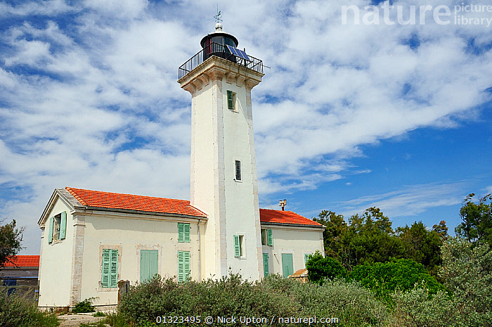 Gacholle lighthouse at the heart of the Camargue National Reserve, France, May 2010.  ,  BUILDINGS,CLOUDS,EUROPE,FRANCE,LANDSCAPES,LIGHTHOUSES,RESERVE,TREES,Weather,PLANTS,core collection xtwox  ,  Nick Upton
