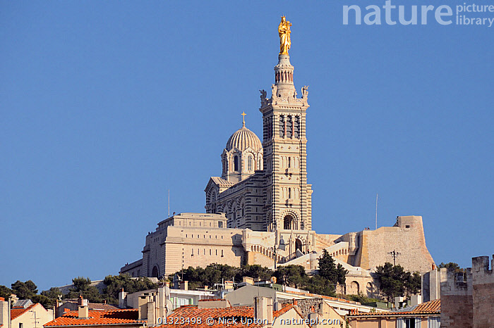 Notre Dame de la Garde Cathedral, Marseille, France, May 2010.  ,  BUILDINGS,CATHEDRALS,CHURCHES,CITIES,EUROPE,FRANCE,LANDSCAPES,PORTS,URBAN  ,  Nick Upton