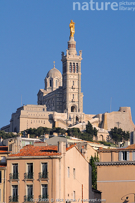 Notre Dame de la Garde Cathedral, Marseille, France, May 2010.  ,  BUILDINGS,CATHEDRALS,CHURCHES,CITIES,EUROPE,FRANCE,LANDSCAPES,PORTS,URBAN,VERTICAL  ,  Nick Upton