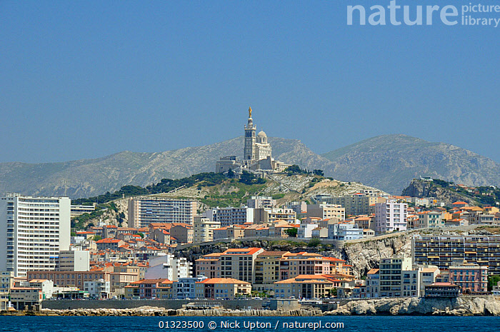 Marseille city and Notre Dame de la Garde Cathedral. France, May 2010.  ,  BUILDINGS,CITIES,COASTS,EUROPE,FRANCE,LANDSCAPES,MEDITERRANEAN,PORTS,URBAN  ,  Nick Upton
