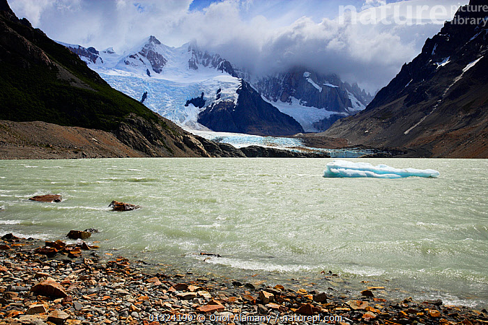 Laguna Torre and Grande glacier below Cerro Torre (3102 m), Los Glaciares National Park, Andes, Patagonia, Argentina, January 2006  ,  Andes,Argentina,catalogue3,Cerro Torre,cloud,COLD,DRAMATIC,Frozen,GLACIERS,Grande glacier,ICE,Laguna Torre,LAKES,landscape,LANDSCAPES,Los Glaciares National Park,MOUNTAINS,Mountainside,Nobody,NP,outdoors,patagonia,RESERVE,Scenic,SNOW,snowcapped,SOUTH AMERICA,tourist destination,Travel,valley,WATER,waters edge,Geology,National Park  ,  Oriol Alamany