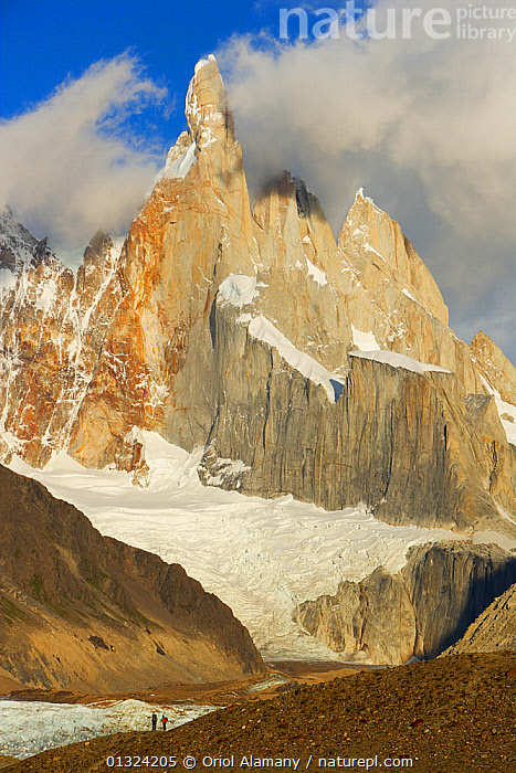Mountaineers below Cerro Torre (3102 m) and Glaciar Grande at sunrise, Los Glaciares National Park, Andes, Patagonia, Argentina, January 2006  ,  ANDES,ARGENTINA,CLOUDS,DRAMAITC,GLACIERS,HIKER,HIKING,ICE,LAKES,LANDSCAPES,MOUNTAINEERING,MOUNTAINS,NP,OUTDOORS,PEOPLE,RESERVE,SNOW,SOUTH AMERICA,TWO,VERTICAL,Weather,Geology,SPORTS,National Park  ,  Oriol Alamany