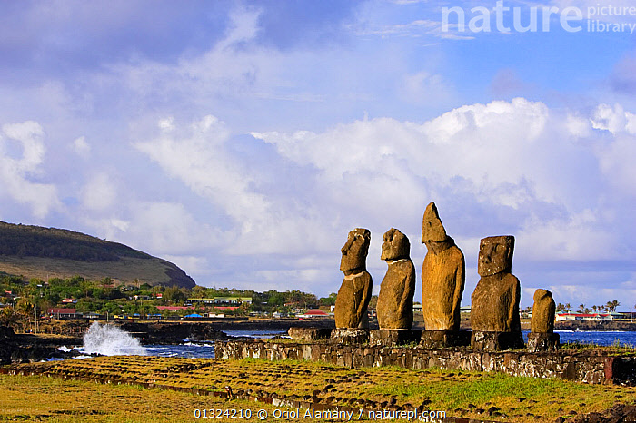 Moai statues stand erect at the restored archaeological sites of Ahu Vai Uri and Ahu Tahai in Hanga Roa, Easter Island (Pascua / Rapa Nui), Unesco World Heritage Site, November 2004  ,  ANCIENT,ARTEFACTS,COASTS,CULTURES,LANDSCAPES,OCEANIA,PACIFIC ISLANDS,POLYNESIA,RESERVE,SCULPTURE,STATUE,STATUES,STONE  ,  Oriol Alamany