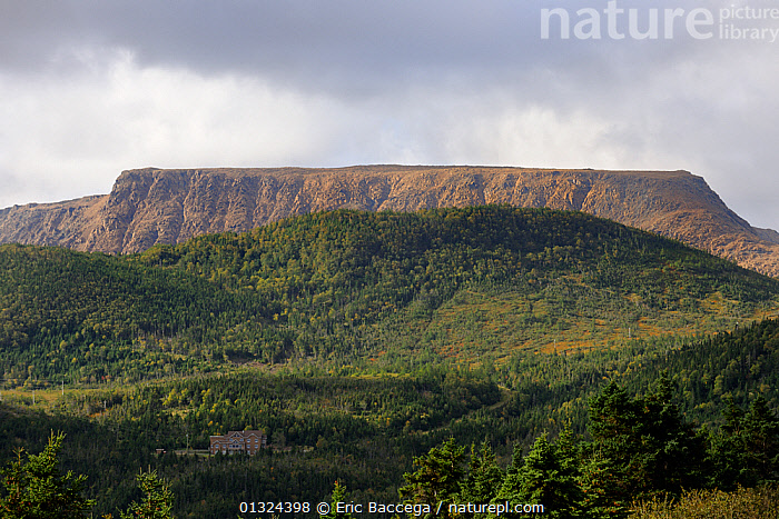 Tablelands at Trout River Pond, Gros Morne National Park, Newfoundland, Canada, September 2010  ,  BUILDINGS,CANADA,CLIFFS,CLOUDS,DRAMATIC,EROSION,FLAT ,GEOLOGY,LANDSCAPES,MOUNTAINS,NORTH AMERICA,NP,Weather,National Park  ,  Eric Baccega