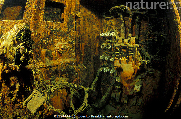 "Electricity system in engine room of wrecked crude oil super-tanker ""Amoco Milford Haven"", which sank on April 14th, 1991 after three days of fire. Genoa, Italy, 2002.  ,  BOAT PARTS,BOATS,ENGINES,ENVIRONMENTAL,EUROPE,HISTORICAL,ITALY,MEDITERRANEAN,OIL,OIL TANKERS,POLLUTION,TANKERS,TEMPERATE,UNDERWATER,WRECKS,BOAT-PARTS,WORKING-BOATS ,core collection xtwox  ,  Roberto Rinaldi"
