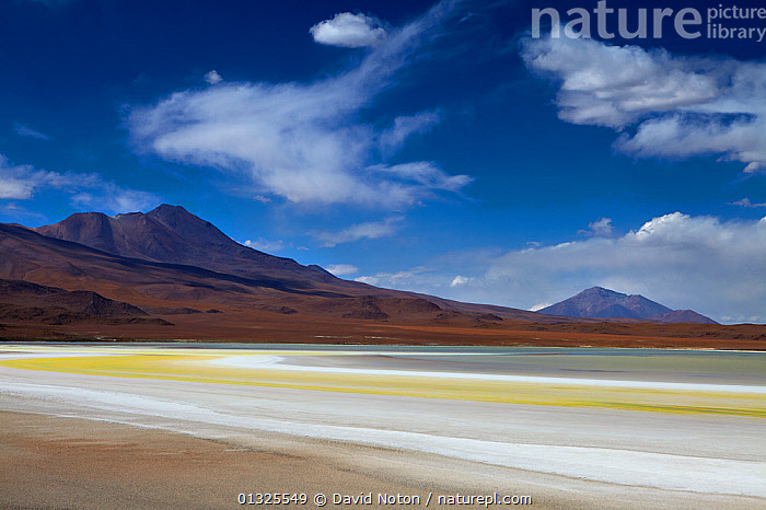 The remote region of high desert, altiplano and volcanoes near Tapaquilcha, Bolivia, December 2009  ,  altiplano,Andes,arid landscape,Bolivia,catalogue3,cloudy,desert,EMPTY,high altitude,isolated,Lake,LAKES,landscape,LANDSCAPES,nature,Nobody,outdoors,plateau,remote,SALT,Scenic,SKY,SOUTH AMERICA,sulphur,Tapaquilcha,tourist destination,Travel,Volcano,WATER,WIND,Weather  ,  David Noton