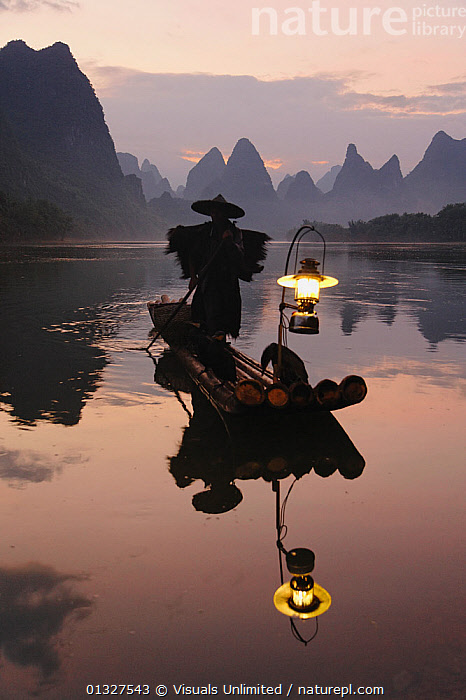 Traditional Chinese fisherman with Cormorants on the Li River at sunrise, near Guilin, China, ASIA,BIRD,BOAT,CHINA,COLOR,CORMORANT,DAWN,DUSK,EVENING,FISHERMEN,FISHING,GUILIN,HAT,IMAGE,KARST,LANDSCAPES,LANTERN,LI,MORNING,ONE,OUTDOORS,PERSON,PHOTOGRAPHY,REFLECTION,RIVER,SILHOUETTE,STANDING,SUNRISE,SUNSET,TRADITIONAL,TWILIGHT,VERTICAL, Visuals Unlimited