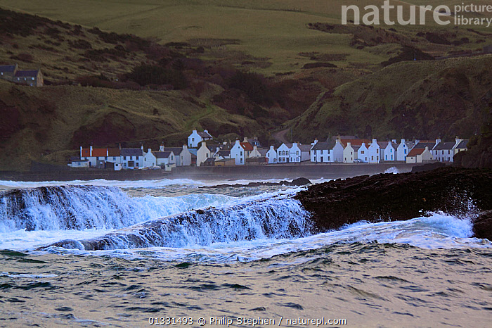 Village of Pennan on the Moray Firth coast, Grampian, Scotland, January 2011.  ,  BUILDINGS,CLIFFS,COASTS,EUROPE,HOMES,LANDSCAPES,SCOTLAND,UK,VILLAGES,WAVES,Geology,United Kingdom  ,  Philip Stephen