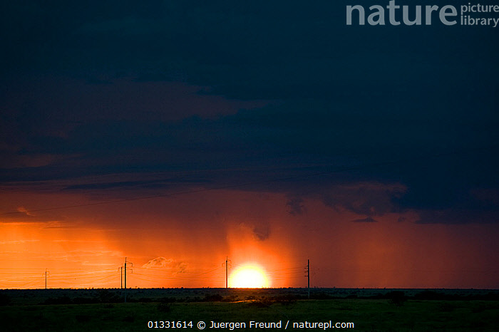 Dramatic sunrise together with rainfall in the outback at the height of the Australian summer. Queensland, Australia, February 2008  ,  ATMOSPHERIC,AUSTRALASIA,AUSTRALIA,BLACK,CLOUDS,DESERTS,DRAMATIC,DUSK,LANDSCAPES,ORANGE,pylons,RAIN,SUNSET,WEATHER  ,  Jurgen Freund
