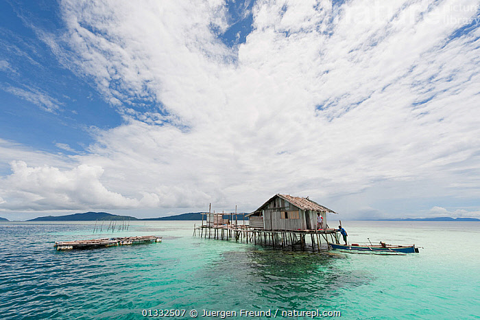 West Papuan house on stilts in coral reef shallows. Raja Ampat, West Papua, Indonesia, February 2010., ASIA,BOATS,BUILDINGS,CLOUDS,CORAL TRIANGLE,CORAL REEFS,INDONESIA,INDO PACIFIC,IRIAN JAYA,ISLANDS,OCEANS,SOUTH EAST ASIA,TRADITIONAL,TROPICAL,WEATHER,,SOUTH-EAST-ASIA,NEW-GUINEA,core collection xtwox, Jurgen Freund