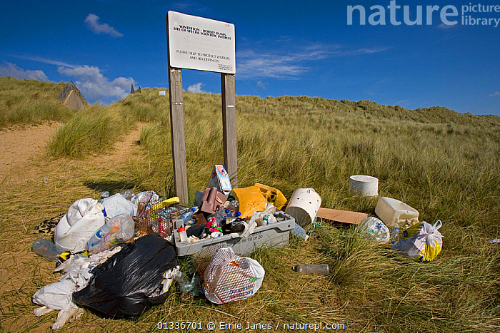 Rubbish collected from Winterton Beach, Norfolk, UK, September, BEACHES,COASTS,EUROPE,POLLUTION,REFUSE,RUBBISH,SAND DUNES,SIGNS,UK,United Kingdom, Ernie Janes