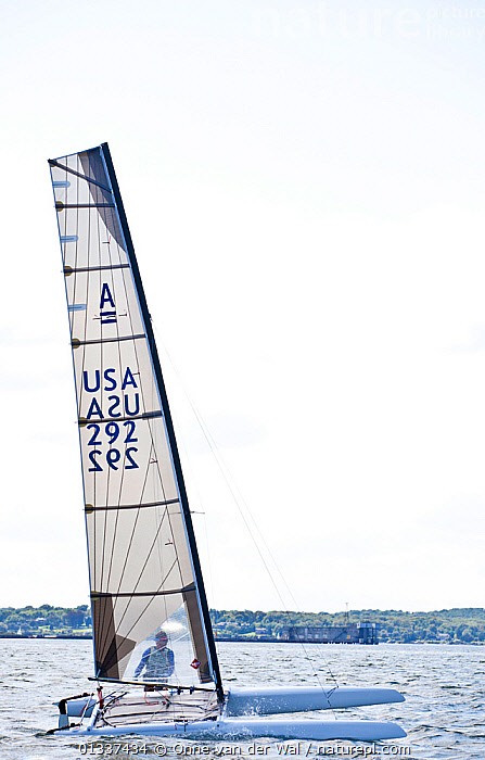 USA C-Class catamaran team in training for Little America's Cup. Newport, Rhode Island, USA, August 2010. All non-editorial uses must be cleared individually.  ,  BOATS,CATAMARANS,C CLASSES,COASTS,MULTIHULLS ,NORTH AMERICA,PROFILE,RACES,SAILING BOATS,USA,VERTICAL,WINGMAST,WINGMASTS ,WINGSAIL,WINGSAILS  ,  Onne van der Wal