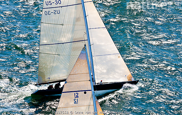 Aerial view of racing during the 12 Metre North American Championships. Newport, Rhode Island, USA, September 2010. All non-editorial uses must be cleared individually.  ,  12 METRES,AERIALS,BOATS,FORESAILS,MAINSAILS,NORTH AMERICA,PROFILE,RACES,RACING,SAILING BOATS,SUNNY,USA,YACHTS,SAILING-BOATS,core collection xtwox  ,  Onne van der Wal
