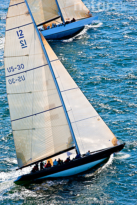 Aerial view of two yachts racing during the 12 Metre North American Championships. Newport, Rhode Island, USA, September 2010.. All non-editorial uses must be cleared individually.  ,  12 METRES,AERIALS,BOATS,FORESAILS,HEELING,MAINSAILS,NORTH AMERICA,PROFILE,RACES,RACING,SAILING BOATS,USA,VERTICAL,YACHTS,SAILING-BOATS  ,  Onne van der Wal