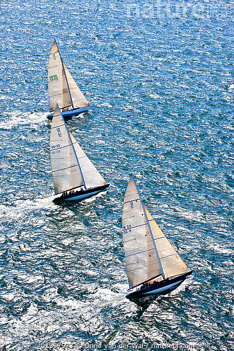 Aerial view of three yachts racing in the 12 Metre North American Championships. Newport, Rhode Island, USA, September 2010. All non-editorial uses must be cleared individually.  ,  12 METRES,AERIALS,BOATS,FORESAILS,HEELING,MAINSAILS,NORTH AMERICA,PROFILE,RACES,RACING,SAILING BOATS,SUNNY,THREE,USA,VERTICAL,YACHTS,SAILING-BOATS,core collection xtwox  ,  Onne van der Wal