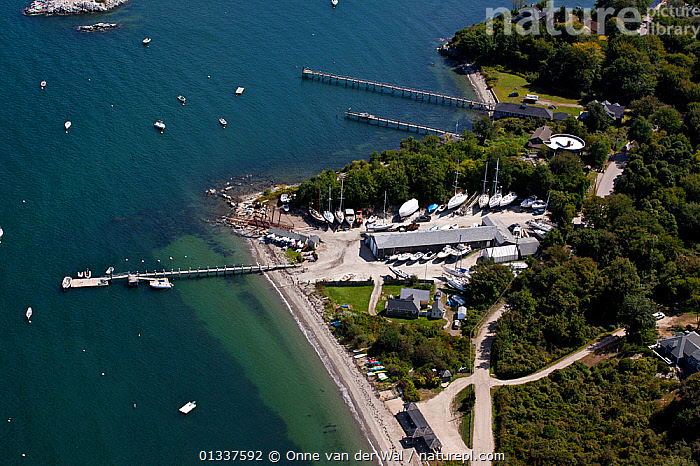 Aerial view of Clark�s Boat Yard in Jamestown, Rhode Island, USA, September 2010.  ,  AERIALS,BOATS,BUILDINGS,COASTS,CRUISING,HARBOURS,ISLANDS,JETTIES,LANDSCAPES,MOORED,NORTH AMERICA,SAILING BOATS,USA,YACHTS  ,  Onne van der Wal