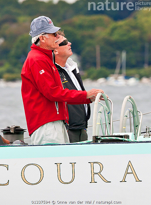 """Ted Turner at the helm of """"Courageous"""" during America's Cup Legends reunion. Newport, Rhode Island, USA, September 2010. All non-editorial uses must be cleared individually.  ,  12 METRES,BOATS,COASTS,CREWS,EVENTS,HELMING,MS,NORTH AMERICA,PEOPLE,PROCEDURES,PROFILE,SAILING BOATS,VERTICAL,YACHTS,SAILING-BOATS,USA  ,  Onne van der Wal"""