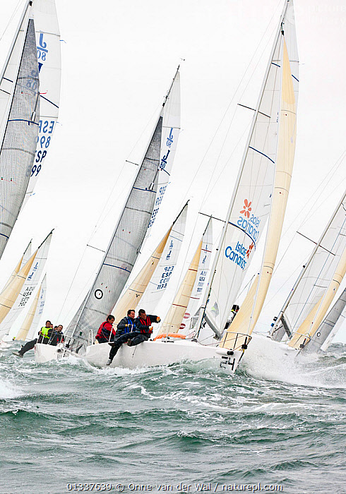 Fleet racing in the J80 World Championships, Newport, Rhode Island, USA, October 2010.  ,  ACTION,BOATS,CHOPPY,CREWS,HEELING,HIKING OUT,KEELBOATS ,NORTH AMERICA,PEOPLE,RACES,RACING,SAILING BOATS,VERTICAL,USA  ,  Onne van der Wal