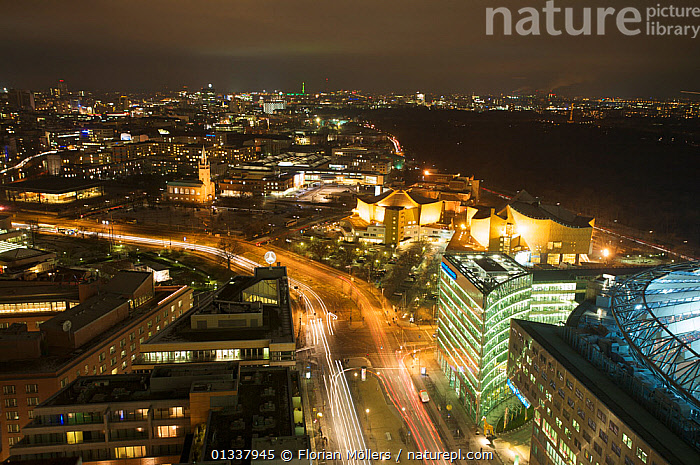 Aerial view from Panorama-Point Kollhoff Tower of Potsdamer Platz, Philharmonie, Sony Center and Tiergarten, Berlin, Germany, January 2009  ,  AERIALS,CITIES,EUROPE,GERMANY,HIGH ANGLE SHOT,LANDSCAPES,LIGHTS,NIGHT,ROADS  ,  Florian Möllers
